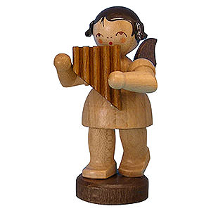 Angels Angels - natural - small Angel with Panpipe - Natural Colors - Standing - 6 cm / 2,3 inch