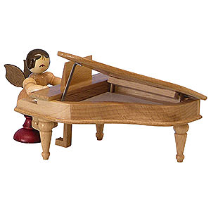 Angels Angels - natural - small Angel with Piano - Natural Colors - Sitting - 6 cm / 2,3 inch