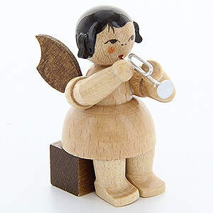 Angels Angels - natural - small Angel with Piccolo Trumpet - Natural Colors - Sitting - 5 cm / 2 inch