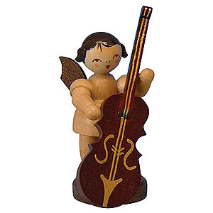 Angels Angels - natural - small Angel with Plucked Bass - Natural Colors - Standing - 6 cm / 2,3 inch