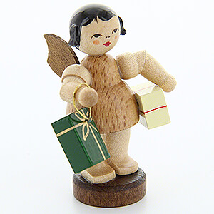 Angels Angels - natural - small Angel with Presents - Natural Colors - Standing - 6 cm / 2.4 inch