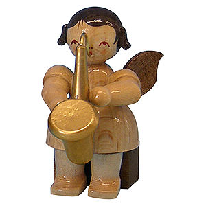 Angels Angels - natural - small Angel with Saxophone - Natural Colors - Sitting - 5 cm / 2 inch