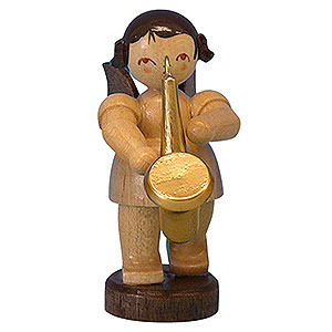 Angels Angels - natural - small Angel with Saxophone - Natural Colors - Standing - 6 cm / 2,3 inch