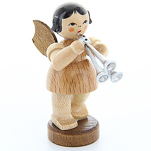 Angels Angels - natural - small Angel with Shawm - Natural Colors - Standing - 6 cm / 2.4 inch