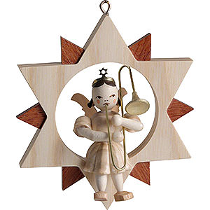 Angels Blank Novelties 2018 Angel with Slide Trombone in Star, Natural - 9 cm / 3.5 inch