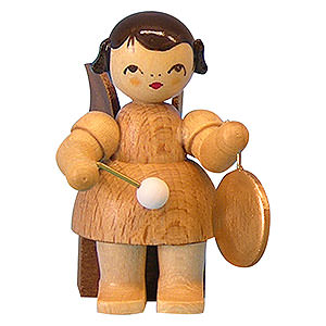 Angels Angels - natural - small Angel with Small Gong - Natural Colors - Sitting - 5 cm / 2 inch