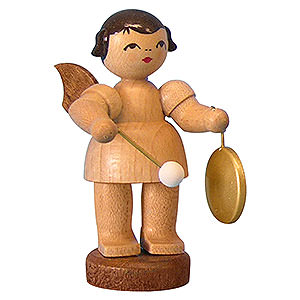 Angels Angels - natural - small Angel with Small Gong - Natural Colors - Standing - 6 cm / 2,3 inch