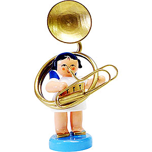 Angels Angels - blue wings - small Angel with Sousaphone - Blue Wings - Standing - 6 cm / 2.3 inch
