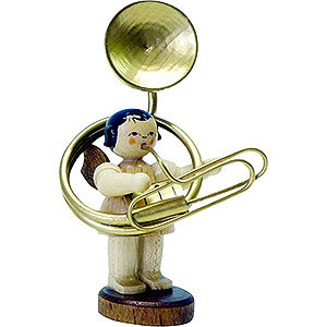 Angels Angels - natural - small Angel with Sousaphone - Natural Colors - Standing - 6 cm / 2.3 inch