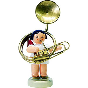 Angels Angels - red wings - small Angel with Sousaphone - Red Wings - Standing - 6 cm / 2.3 inch