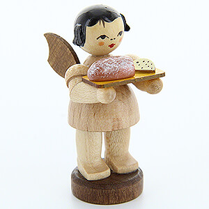 Angels Angels - natural - small Angel with Stollen Plate - Natural Colors - Standing - 6 cm / 2.4 inch