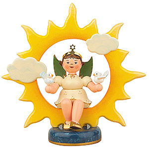 Angels Angels - white (Hubrig) Angel with Sun and Doves - 20 cm / 8 inch