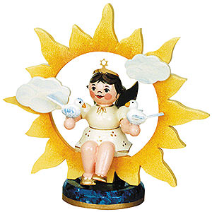 Angels Angels - white (Hubrig) Angel with Sun and Doves - 6,5 cm / 2,5 inch