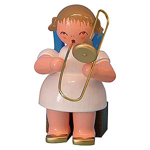 Angels Angels - blue wings - small Angel with Trombone - Blue Wings - Sitting - 5 cm / 2 inch