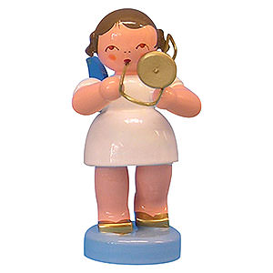 Angels Angels - blue wings - small Angel with Trombone - Blue Wings - Standing - 6 cm / 2,3 inch