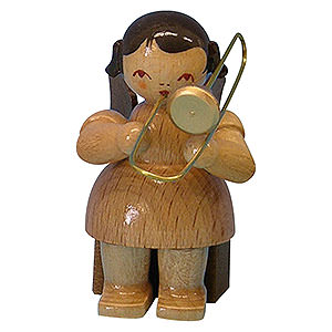 Angels Angels - natural - small Angel with Trombone - Natural Colors - Sitting - 5 cm / 2 inch