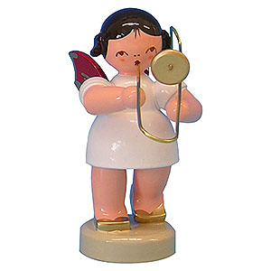 Angels Angels - red wings - small Angel with Trombone - Red Wings - Standing - 6 cm / 2,3 inch