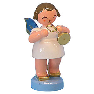 Angels Angels - blue wings - small Angel with Trumpet - Blue Wings - Standing - 6 cm / 2,3 inch