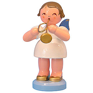 Angels Angels - blue wings - large Angel with Trumpet - Blue Wings - Standing - 9,5 cm / 3,7 inch