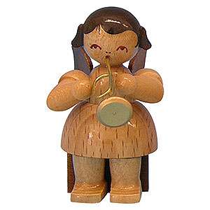 Angels Angels - natural - small Angel with Trumpet - Natural Colors - Sitting - 5 cm / 2 inch