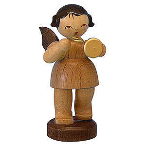 Angels Angels - natural - small Angel with Trumpet - Natural Colors - Standing - 6 cm / 2,3 inch