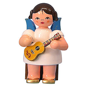 Angels Angels - blue wings - small Angel with Ukulele - Blue Wings - Sitting - 5 cm / 2 inch