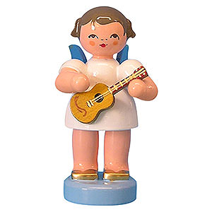 Angels Angels - blue wings - small Angel with Ukulele - Blue Wings - Standing - 6 cm / 2,3 inch