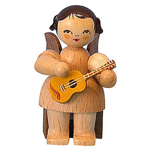 Angels Angels - natural - small Angel with Ukulele - Natural Colors - Sitting - 5 cm / 2 inch
