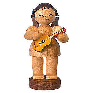 Angels Angels - natural - small Angel with Ukulele - Natural Colors - Standing - 6 cm / 2,3 inch