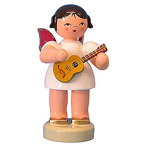 Angels Angels - red wings - small Angel with Ukulele - Red Wings - Standing - 6 cm / 2,3 inch