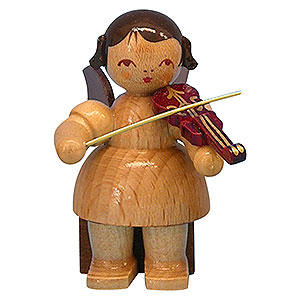 Angels Angels - natural - small Angel with Violin - Natural Colors - Sitting - 5 cm / 2 inch