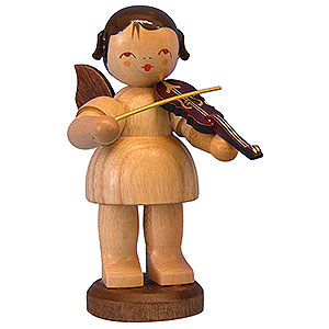 Angels Angels - natural - large Angel with Violin - Natural Colors - Standing - 9,5 cm / 3,7 inch