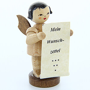 Angels Angels - natural - small Angel with Wish List - Natural Colors - Standing - 6 cm / 2.4 inch