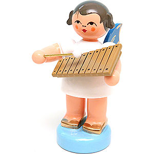 Angels Angels - blue wings - small Angel with Xylophone - Blue Wings - Standing - 6 cm / 2.4 inch