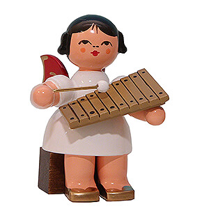 Angels Angels - red wings - small Angel with Xylophone - Red Wings - Sitting - 5 cm / 2 inch
