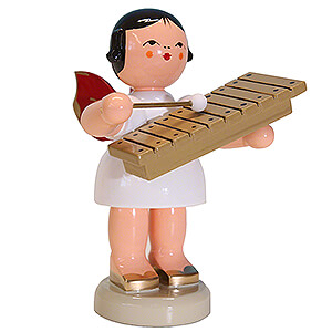 Angels Angels - red wings - large Angel with Xylophone - Red Wings - Standing - 9,5 cm / 3.7 inch