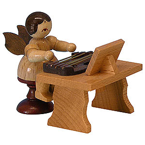 Angels Angels - natural - small Angel with Zither - Natural Colors - Standing - 6 cm / 2,3 inch