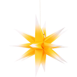 Advent Stars and Moravian Christmas Stars Annaberg Folded Stars Annaberg Folded Star for Indoor Yellow-White - 58 cm / 22.8 inch