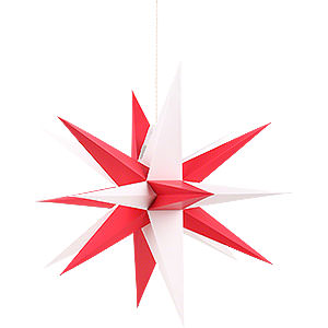 Advent Stars and Moravian Christmas Stars Annaberg Folded Stars Annaberg Folded Star for Indoor with Red-White Tips - 35 cm / 13.8 inch