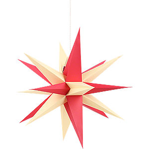 Advent Stars and Moravian Christmas Stars Annaberg Folded Stars Annaberg Folded Star for Indoor with Red-Yellow Tips - 35 cm / 13.8 inch