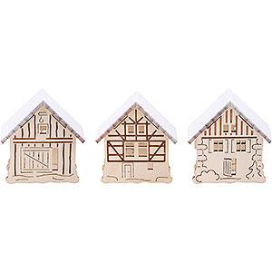Schwibbögen Schwibbogen-Zubehör Aufsteckhaus verschneit, 3er Set - 5,5x5 cm