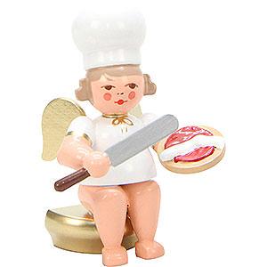 Weihnachtsengel Bäckerengel (Ulbricht) Bäckerengel sitzend mit Palette - 7,5 cm