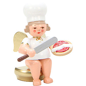 Angels Baker Angels (Ulbricht) Bäckerengel Sitzend with Palette - 7,5 cm / 3 inch