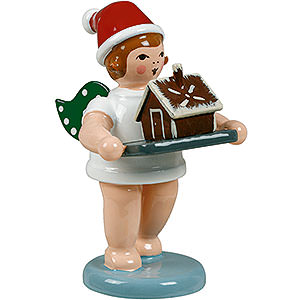 Weihnachtsengel Bäckerengel (Ellmann) Bäckerengel mit Mütze und Pfefferkuchenhaus - 6,5 cm