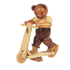 Kleine Figuren & Miniaturen Tiere Bären Bär auf Roller - 10 cm