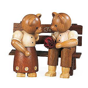Kleine Figuren & Miniaturen Tiere Bären Bärenpaar auf Bank - 10 cm