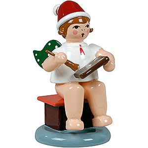 Angels Baker Angels (Ellmann) Baker Angel Sitting with Hat and Ginger Bread - 6,5 cm / 2.5 inch