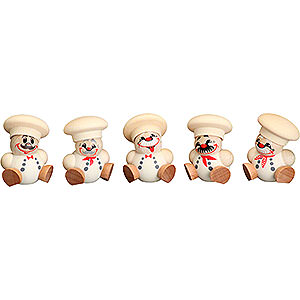 Small Figures & Ornaments Ball figures (Seiffener Vk.) Ball Figures Chef - 5 pcs. - 4 cm / 1.6 inch