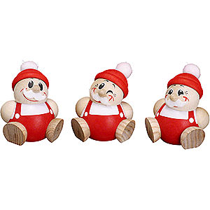 Small Figures & Ornaments Ball figures (Seiffener Vk.) Ball Figures Santa Claus - 3 pcs. - 6 cm / 2.4 inch
