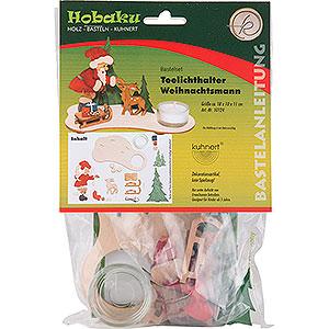 Lichterwelt Kerzenhalter Weihnachtsmann Bastelset Teelichthalter Weihnachtsmann - 11 cm
